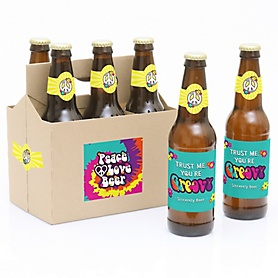 60's Hippie - 1960s Groovy- 6 Beer Bottle Label Stickers and 1 Carrier