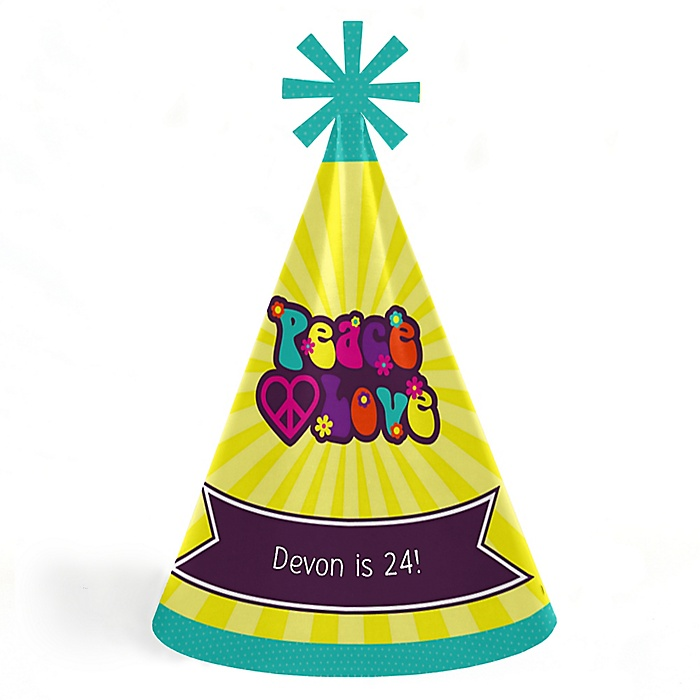 60's Hippie - Personalized Cone Happy Birthday Party Hats for Kids and Adults - Set of 8 (Standard Size)
