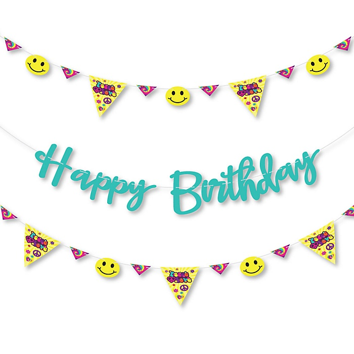 60's Hippie - 1960s Groovy Birthday Party Letter Banner Decoration - 36 Banner Cutouts and Happy Birthday Banner Letters