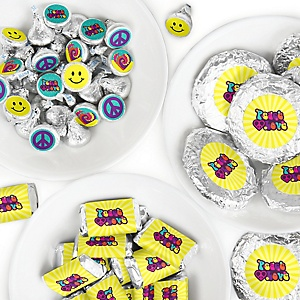 60's Hippie - Mini Candy Bar Wrappers, Round Candy Stickers and Circle Stickers - 1960s Groovy Party Candy Favor Sticker Kit - 304 Pieces