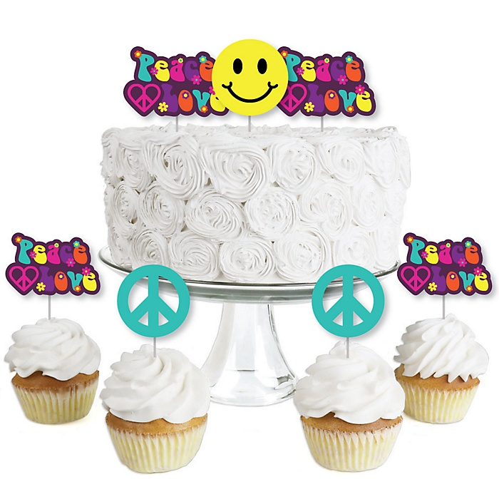 60's Hippie - Dessert Cupcake Toppers - 1960s Groovy Party Clear Treat Picks - Set of 24