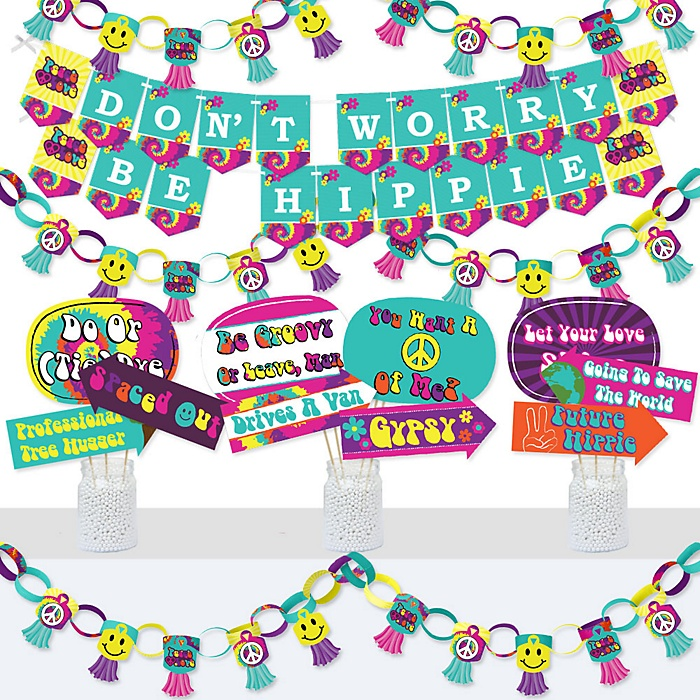 60's Hippie - Banner and Photo Booth Decorations - 1960s Groovy Party Supplies Kit - Doterrific Bundle