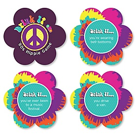 60's Hippie - Drink If 1960s Groovy Party Game - Set of 24