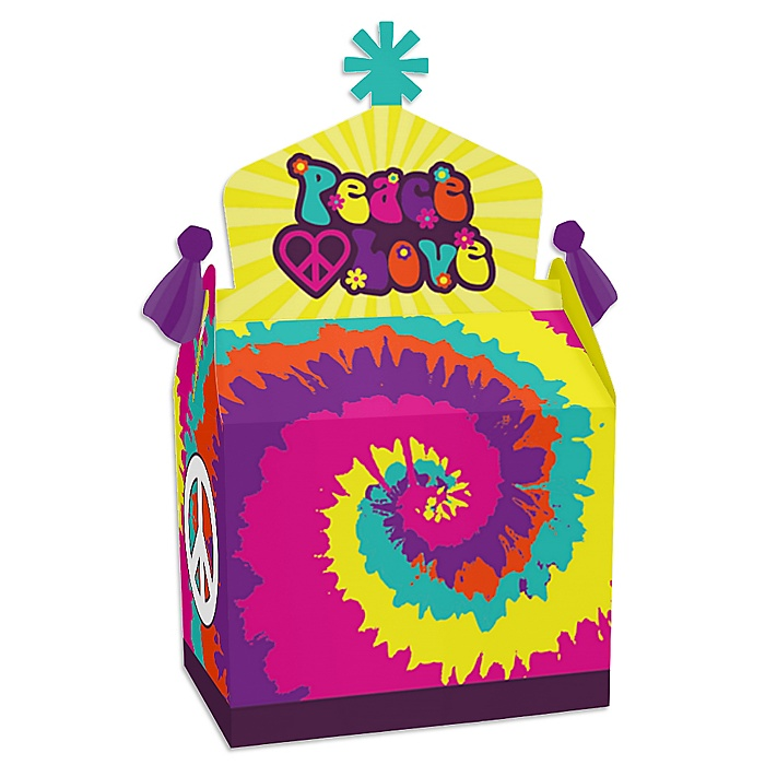 60's Hippie - Treat Box Party Favors - 1960s Groovy Party Goodie Gable Boxes - Set of 12