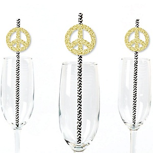 Gold Glitter Peace Sign Party Straws - No-Mess Real Gold Glitter Cut-Outs and Decorative 60's Hippie Groovy Party Paper Straws - Set of 24