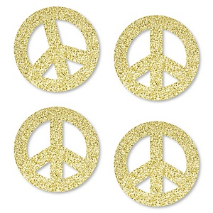 Gold Glitter Peace Sign - No-Mess Real Gold Glitter Cut-Outs - 60's Hippie Groovy Party Confetti - Set of 24