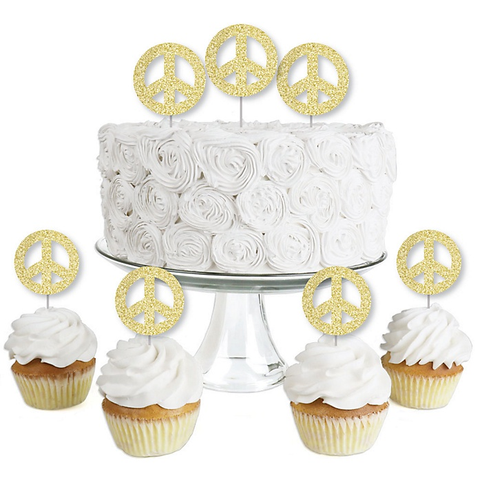 Gold Glitter Peace Sign - No-Mess Real Gold Glitter Dessert Cupcake Toppers - 60's Hippie Groovy Party Clear Treat Picks - Set of 24
