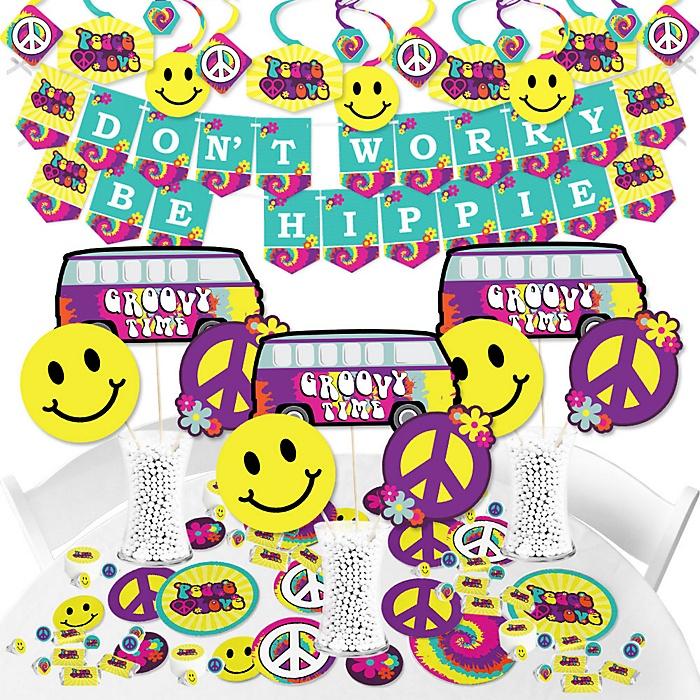 60's Hippie - 1960s Groovy Party Supplies - Banner Decoration Kit - Fundle Bundle