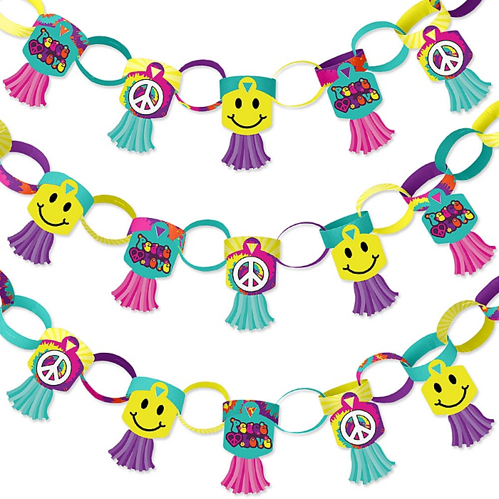 60's Hippie - 90 Chain Links and 30 Paper Tassels Decoration Kit - 1960s Groovy Party Paper Chains Garland - 21 feet