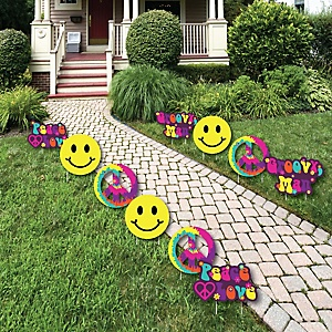 60's Hippie - 1960s Groovy Lawn Decorations - Outdoor Yard Art Decorations - 10 Piece