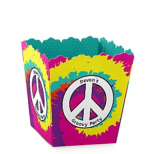 60's Hippie - Party Mini Favor Boxes - Personalized 1960s Groovy Party Treat Candy Boxes - Set of 12