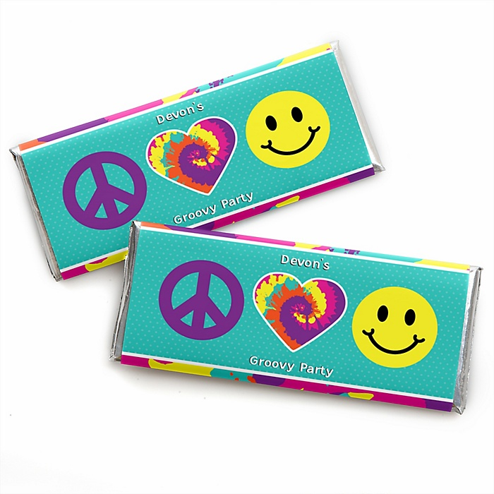60's Hippie - Personalized Candy Bar Wrapper 1960s Groovy Party Favors - Set of 24