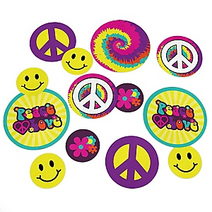 60's Hippie - 1960s Groovy Giant Circle Confetti - Sixties Party Decorations - Large Confetti 27 Count