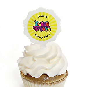 60's Hippie - 12 Cupcake Picks & 24 Personalized Stickers - 1960s Groovy Party Cupcake Toppers