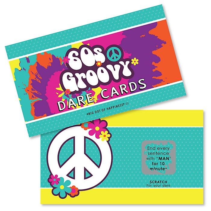 60's Hippie - 1960s Groovy Party Scratch Off Dare Cards - 22 Cards