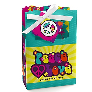 60's Hippie - Personalized 1960s Groovy Party Favor Boxes - Set of 12