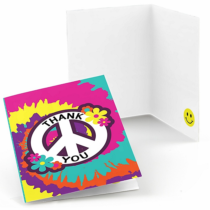 60's Hippie - Set of 8 1960s Groovy Party Thank You Cards