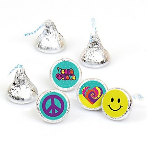 60's Hippie - Round Candy Labels 1960s Groovy Party Favors - Fits Hershey's Kisses - 108 ct