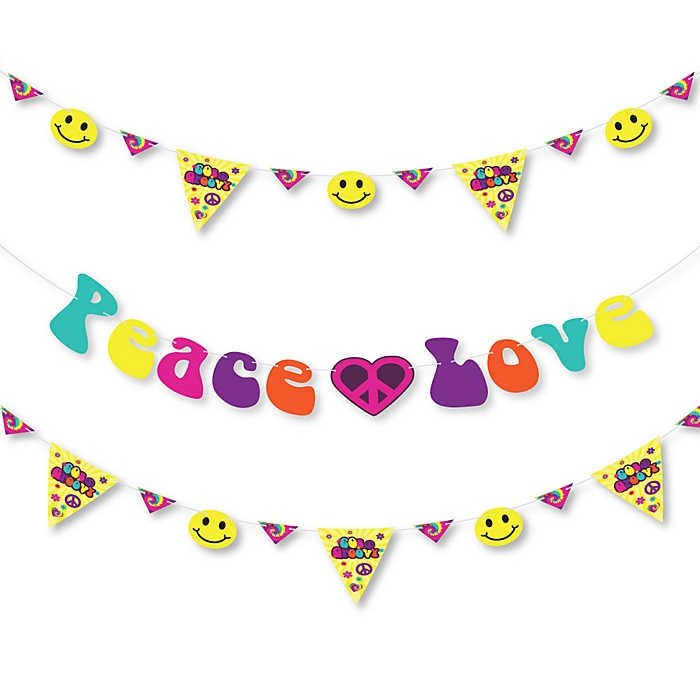 60's Hippie - 1960s Groovy Party Letter Banner Decoration - 36 Banner Cutouts and Peace Love Banner Letters