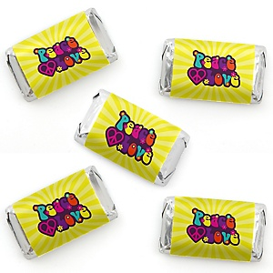 60's Hippie - Mini Candy Bar Wrapper Stickers - 1960s Groovy Party Small Favors - 40 Count