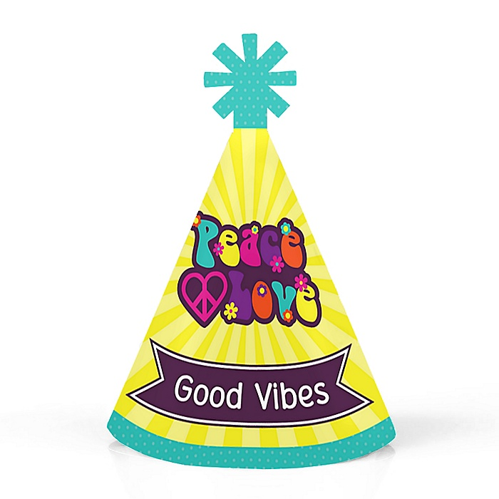 60's Hippie - Personalized Mini Cone 1960s Groovy Party Hats - Small Little Party Hats - Set of 10