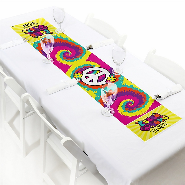 """60's Hippie - Personalized Petite 1960s Groovy Party Table Runner - 12"""" x 60"""""""