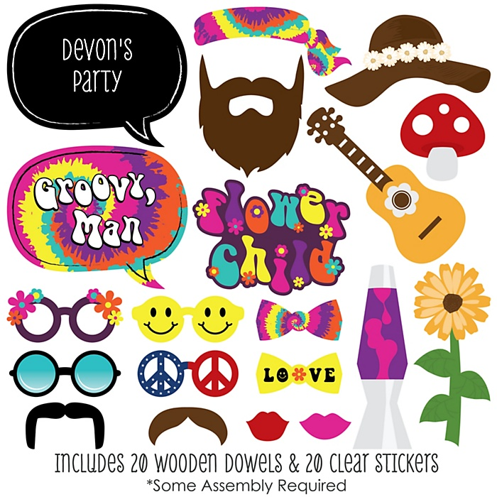 60's Hippie - 20 Piece 60's Party Photo Booth Props Kit