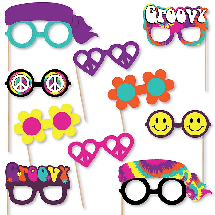 60's Hippie Glasses - Paper Card Stock 1960s Groovy Party Photo Booth Props Kit - 10 Count