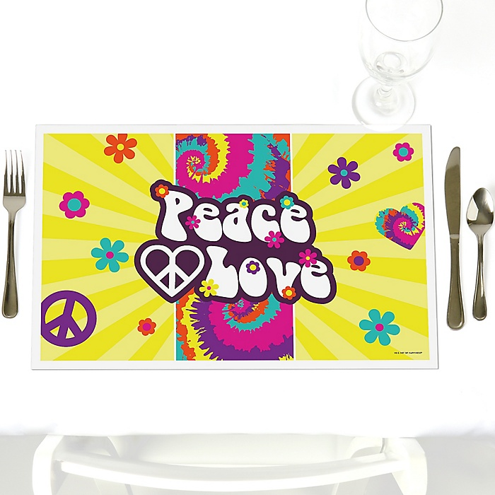 60's Hippie - Party Table Decorations - 1960s Groovy Party Placemats - Set of 12