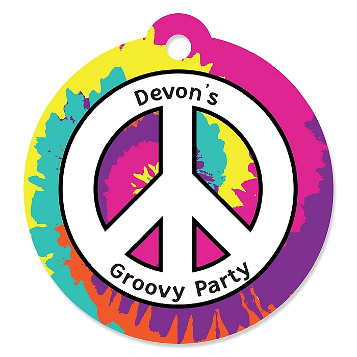 60's Hippie - Personalized 1960s Groovy Party Gift Tags - 20 ct