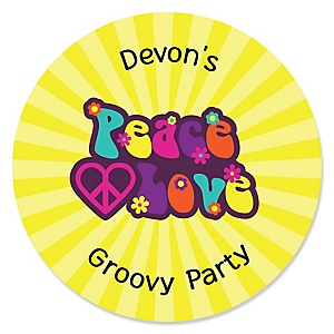 60's Hippie - Round Personalized 1960s Groovy Party Sticker Labels - 24 ct