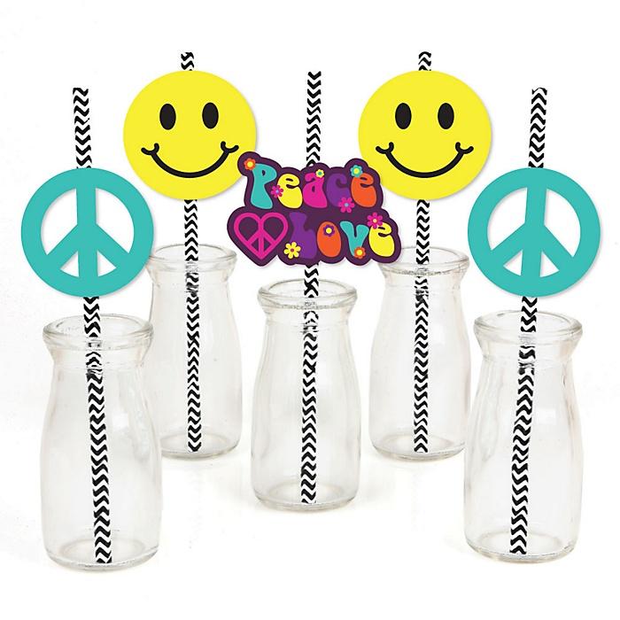 60's Hippie - Paper Straw Decor - 1960s Groovy Party Striped Decorative Straws - Set of 24
