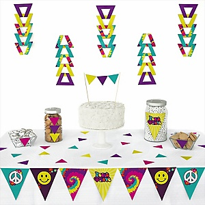 60's Hippie -  Triangle 1960s Groovy Party Decoration Kit - 72 Piece