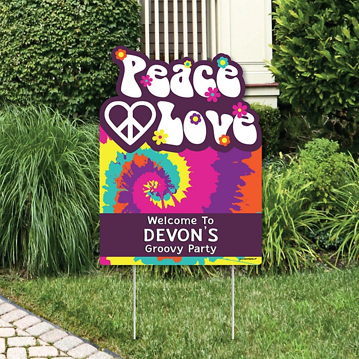 60's Hippie - Party Decorations - 1960s Groovy Party Personalized Welcome Yard Sign