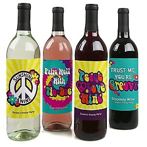60's Hippie - Personalized 1960s Groovy Party Party Wine Bottle Label Stickers - Set of 4