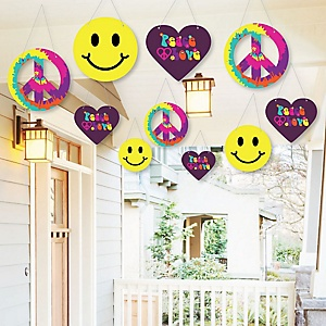Hanging 60's Hippie - Outdoor 1960s Groovy Party Hanging Porch and Tree Yard Decorations - 10 Pieces