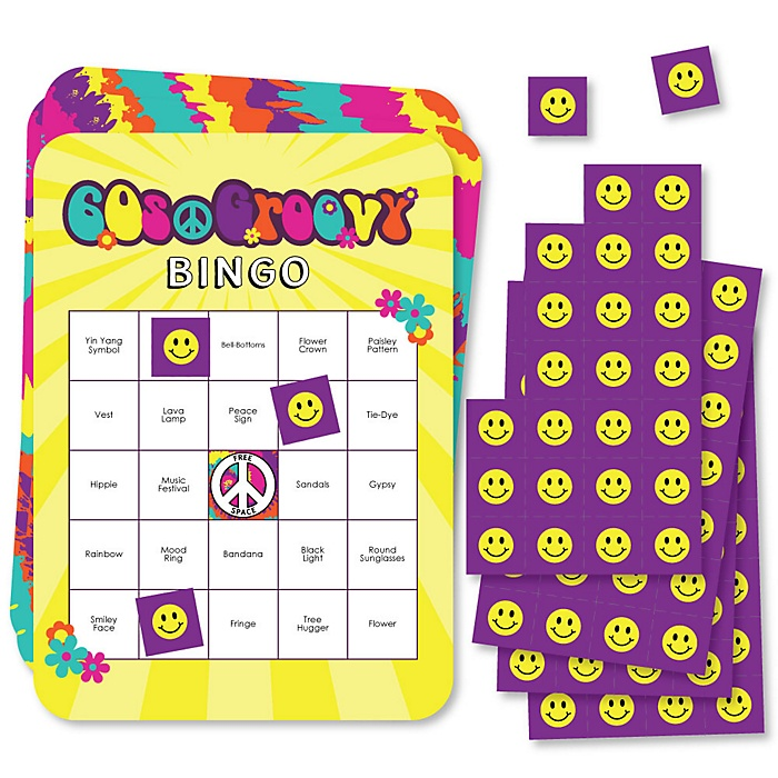 60's Hippie - Bar Bingo Cards and Markers - 1960s Groovy Party Bingo Game - Set of 18