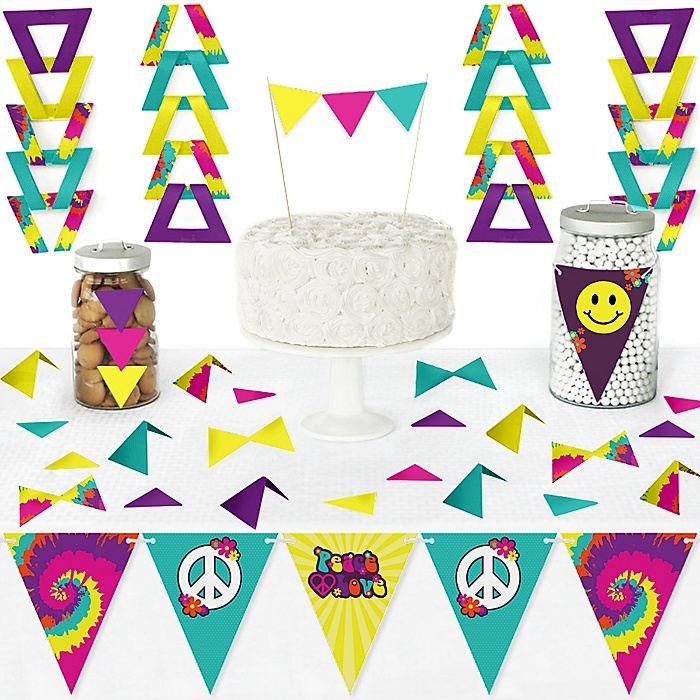 60's Hippie - DIY Pennant Banner Decorations - 1960s Groovy Party Triangle Kit - 99 Pieces