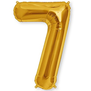 "Gold - ""7"" Shaped - Mylar Balloon - 34"""