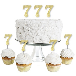 Gold Glitter 7 - No-Mess Real Gold Glitter Dessert Cupcake Toppers - 7th Birthday Party Clear Treat Picks - Set of 24