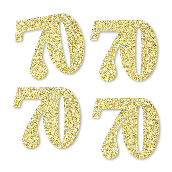 Gold Glitter 70 - No-Mess Real Gold Glitter Cut-Out Numbers - 70th Birthday Party Confetti - Set of 24