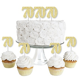 Gold Glitter 70 - No-Mess Real Gold Glitter Dessert Cupcake Toppers - 70th Birthday Party Clear Treat Picks - Set of 24