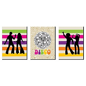 70's Disco - 1970s Wall Art, Room Decor and Disco Themed Room Home Decorations - 7.5 x 10 inches - Set of 3 Prints