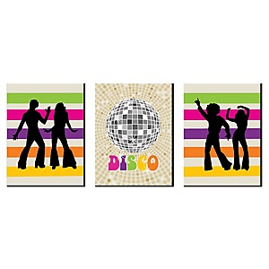 "70's Disco - Nursery Wall Art, Kids Room Décor and Disco Themed Room Home Decorations - 7.5"" x 10"" - Set of 3 Prints"