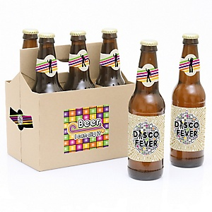 70's Disco - 1970s- 6 Beer Bottle Label Stickers and 1 Carrier