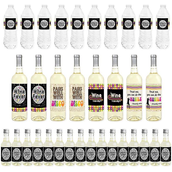 70's Disco - Mini Wine Bottle Labels, Wine Bottle Labels and Water Bottle Labels - 1970s Disco Fever Party Decorations - Beverage Bar Kit - 34 Pieces