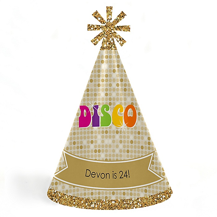 70's Disco - Personalized 1980s Cone Birthday Party Hats for Kids and Adults - Set of 8 (Standard Size)