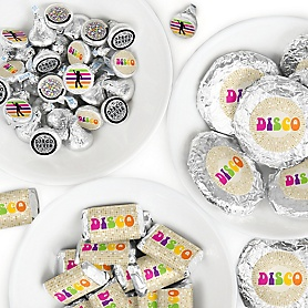 70's Disco - Mini Candy Bar Wrappers, Round Candy Stickers and Circle Stickers - 1970s Disco Fever Party Candy Favor Sticker Kit - 304 Pieces