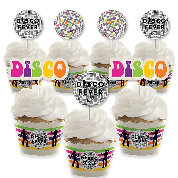 70's Disco - Cupcake Decorations - 1970s Disco Fever Party Cupcake Wrappers and Treat Picks Kit - Set of 24