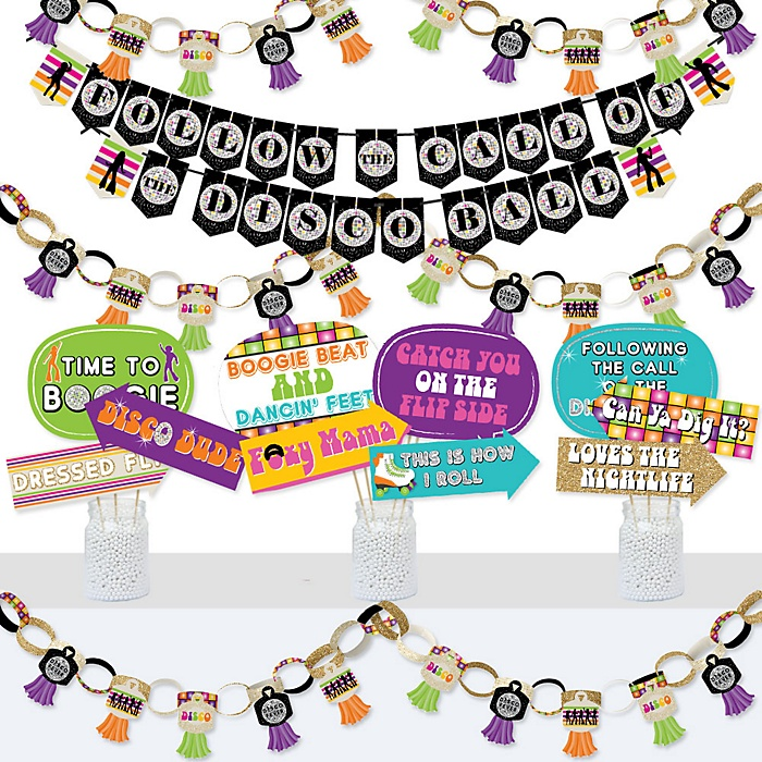 70's Disco - Banner and Photo Booth Decorations - 1970s Disco Fever Party Supplies Kit - Doterrific Bundle